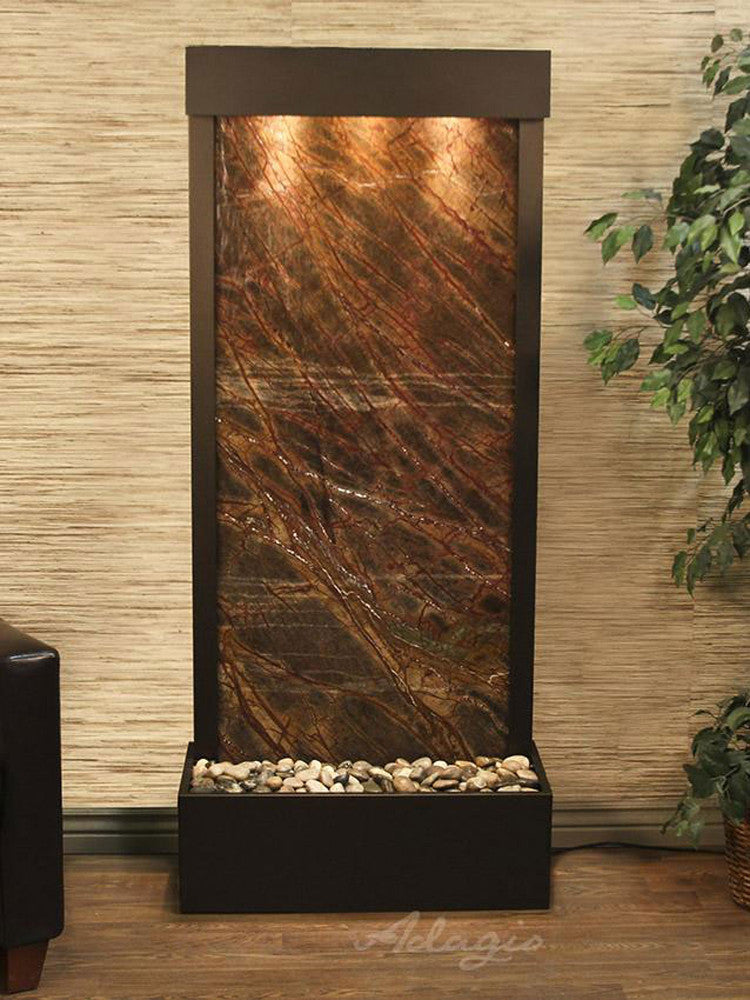 Harmony River (Flush Mounted Towards Rear Of The Base) - Rainforest Brown Marble - Antique Bronze - Soothing Walls
