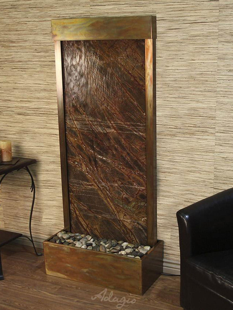 Harmony River (Flush Mounted Towards Rear Of The Base) - Rainforest Brown Marble - Rustic Copper - Soothing Walls
