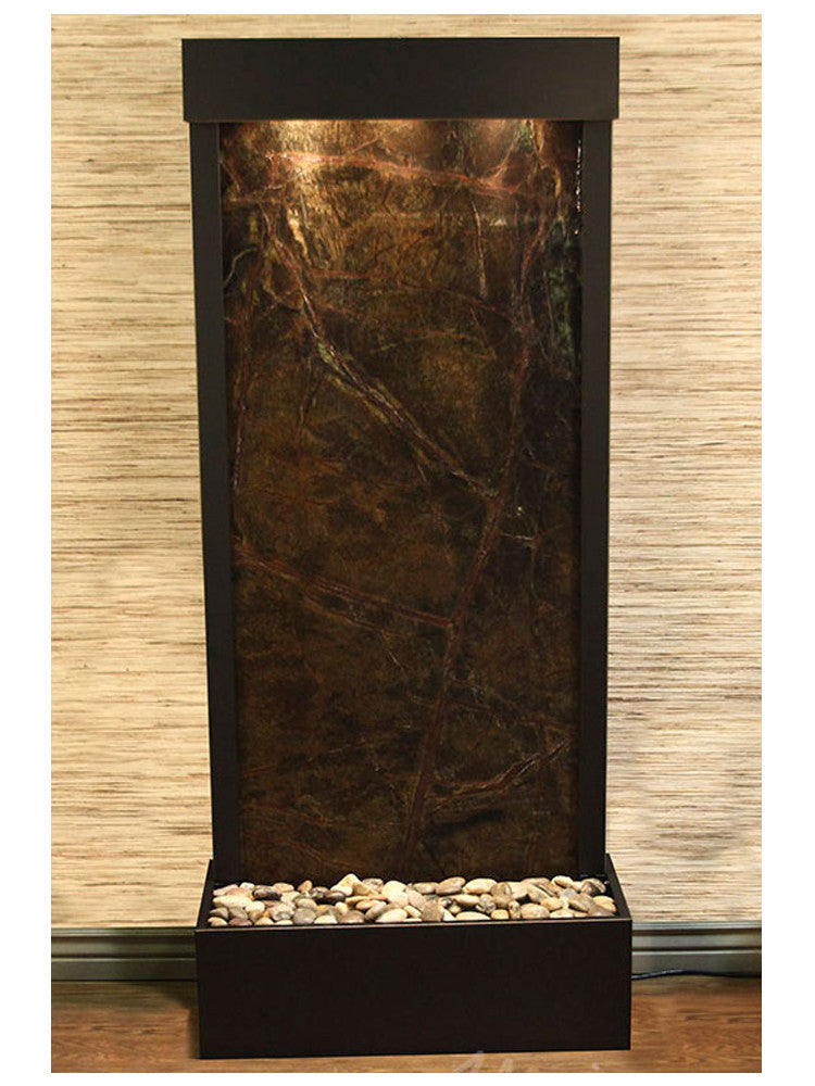 Harmony River (Flush Mounted Towards Rear Of The Base) - Rainforest Green Marble - Antique Bronze - Soothing Walls