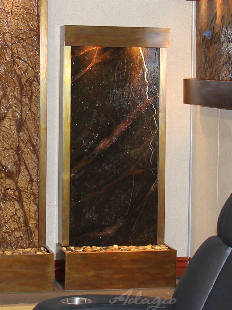 Harmony River (Flush Mounted Towards Rear Of The Base) - Rainforest Green Marble - Rustic Copper - Soothing Walls