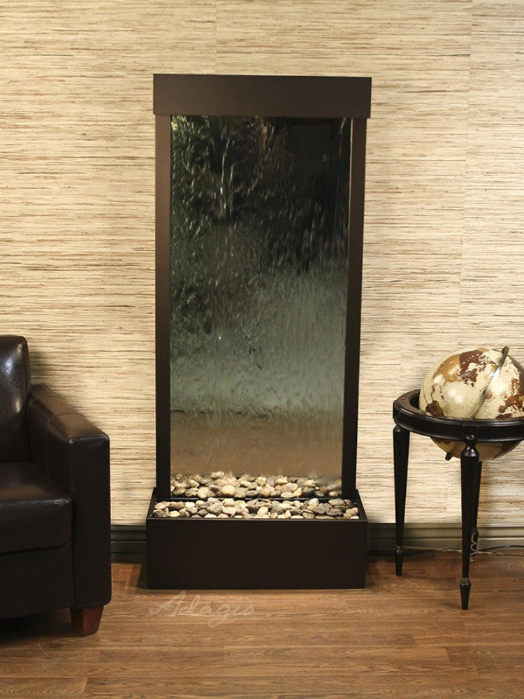 Harmony River (Flush Mounted Towards Rear Of The Base) - Silver Mirror - Antique Bronze -Soothing Walls