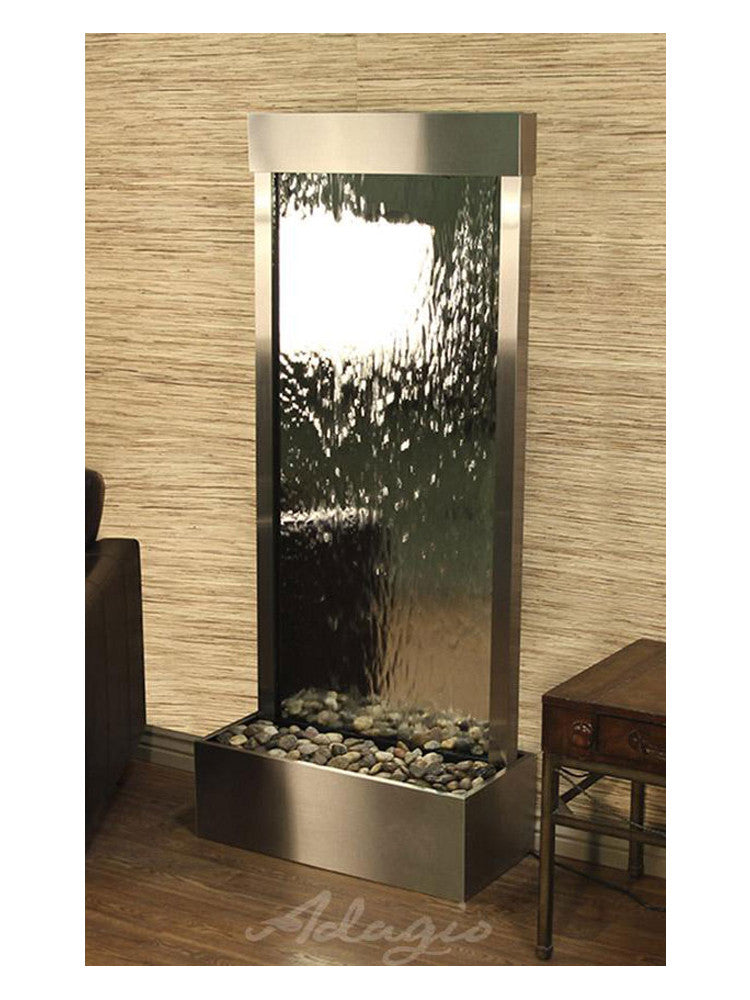 Harmony River (Flush Mounted Towards Rear Of The Base) - Silver Mirror - Stainless Steel - Soothing Walls