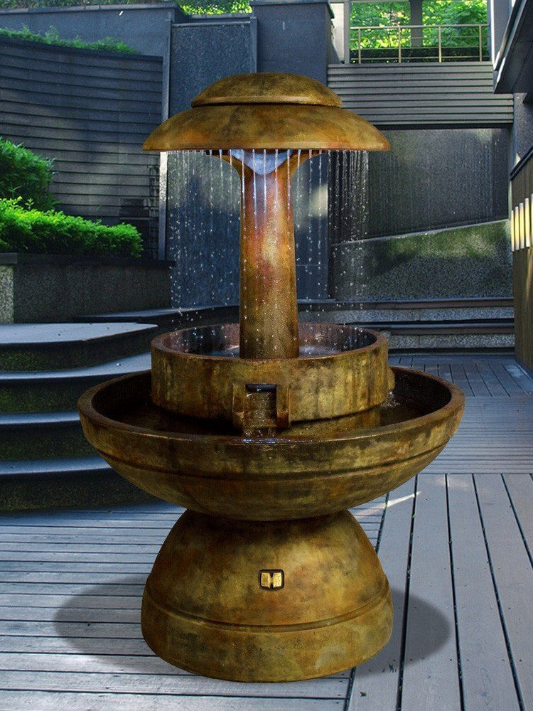 Ring of Diamonds Outdoor Water Fountain - Soothing Walls