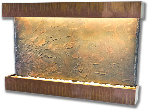 Horizon Falls Large Wall Fountain With Copper Patina Trim - Soothing Walls