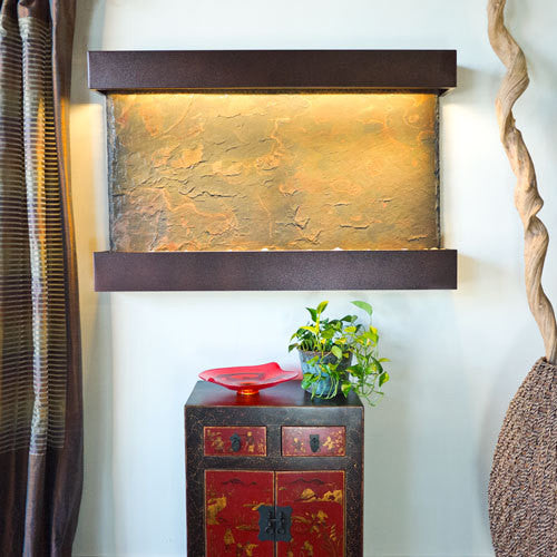 Horizon Falls Large Wall Fountain With Copper Vein Trim - Soothing Walls