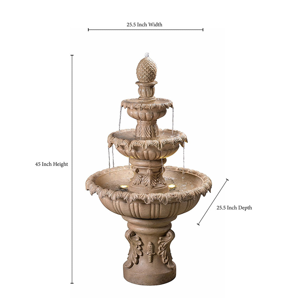 Ibiza Tiered Outdoor Fountain in Sandstone Finish - Soothing Walls