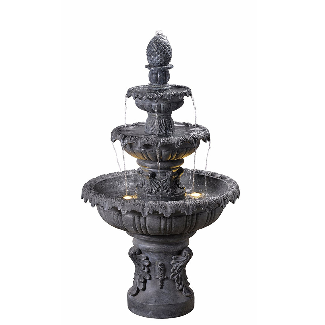 Ibiza Tiered Outdoor Fountain in Zinc Finish - Soothing Walls
