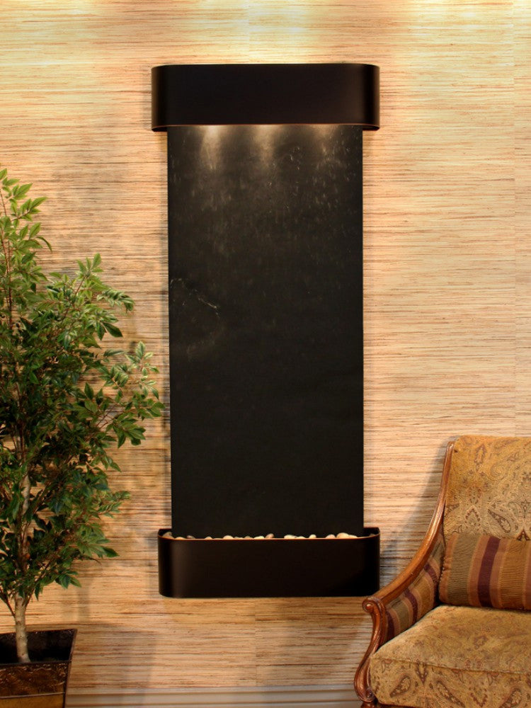 Inspiration Falls: Black FeatherStone and Blackened Copper Trim with Rounded Corners