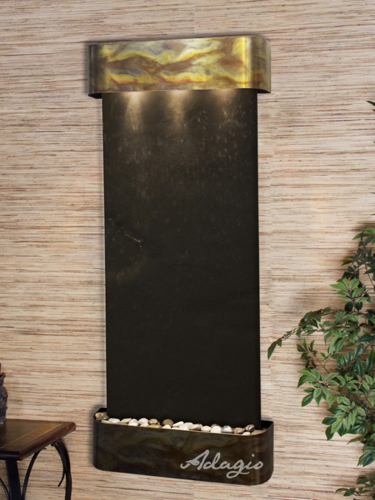 Inspiration Falls: Black FeatherStone and Rustic Copper Trim with Rounded Corners