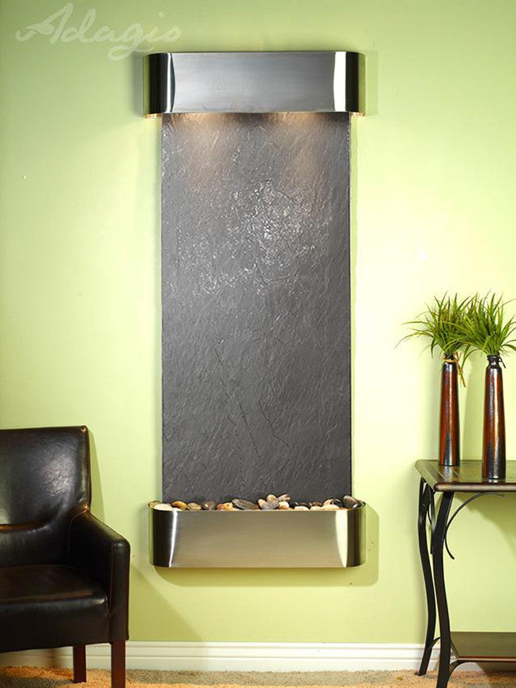 Inspiration Falls: Black FeatherStone and Stainless Steel Trim with Rounded Corners