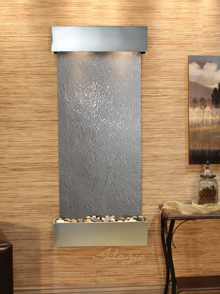 Inspiration Falls - Black FeatherStone - Stainless Steel - Squared Corners - Soothing Walls