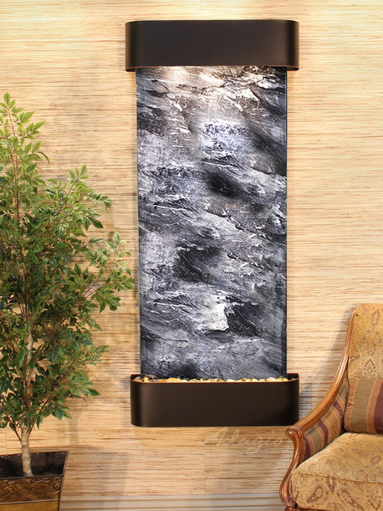 Inspiration Falls - Black Spider Marble - Blackened Copper - Rounded Corners - Soothing Walls