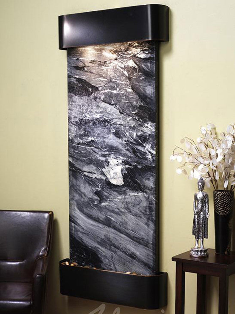 Inspiration Falls: Black Spider Marble with Blackened Copper Trim and Rounded Corners