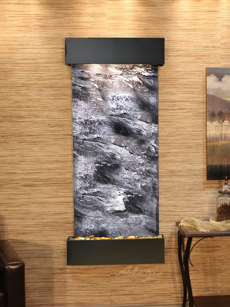 Inspiration Falls - Black Spider Marble - Blackened Copper - Squared Corners - Soothing Walls