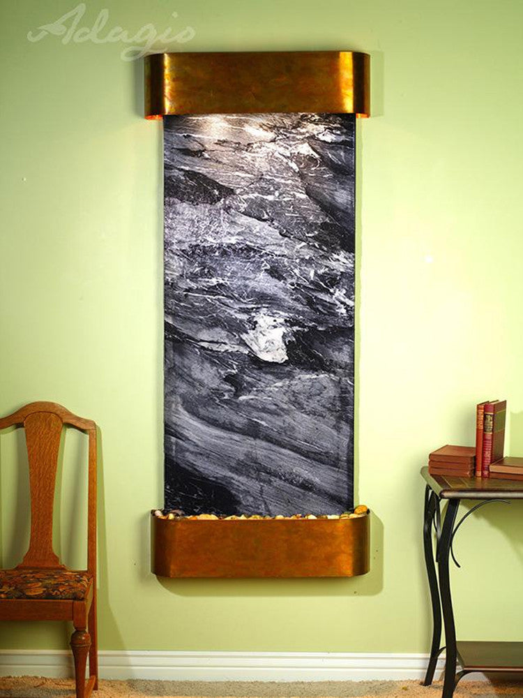 Inspiration Falls - Black Spider Marble - Rustic Copper - Rounded Corners - Soothing Walls
