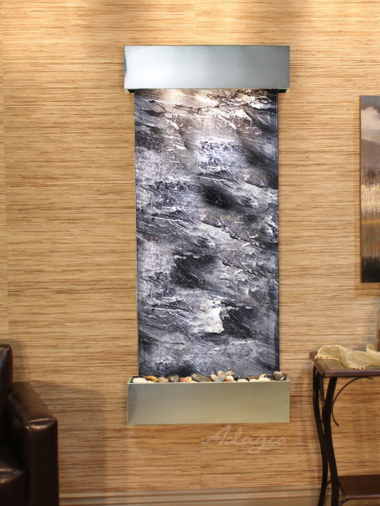 Inspiration Falls - Black Spider Marble - Stainless Steel - Squared Corners - Soothing Walls