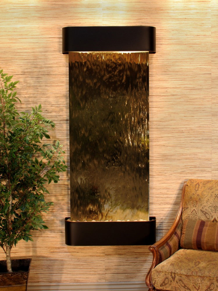 Inspiration Falls - Bronze Mirror - Blackened Copper - Rounded Corners - Soothing Walls