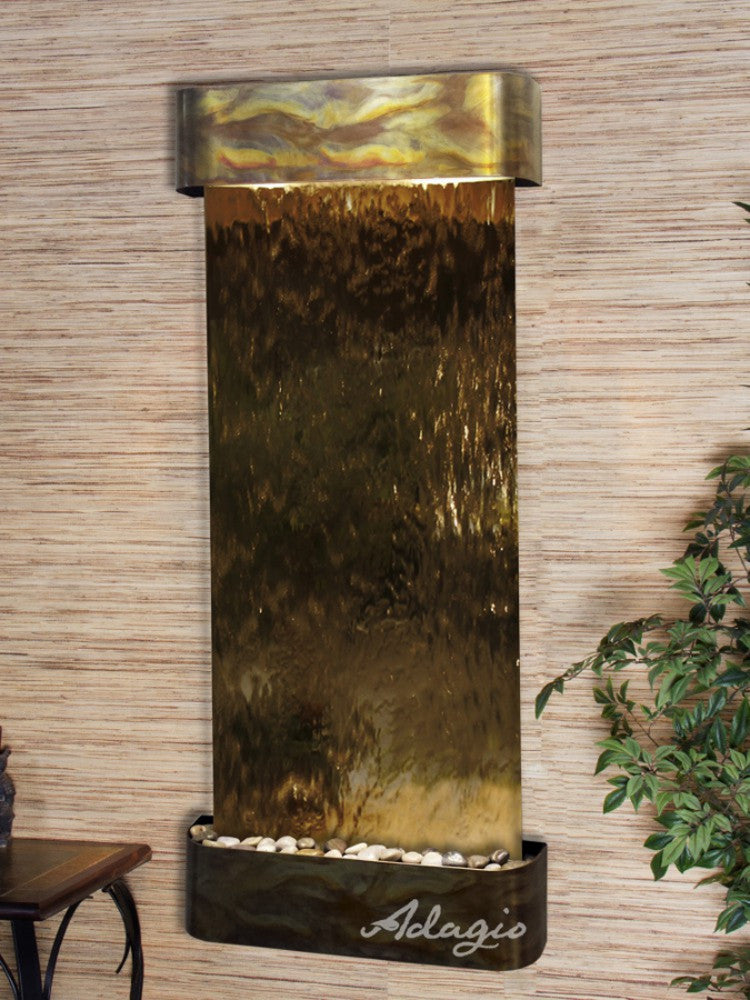 Inspiration Falls - Bronze Mirror - Rustic Copper - Rounded Corners - Soothing Walls