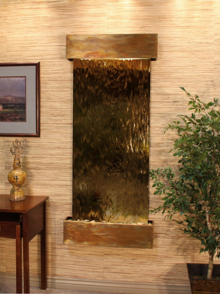 Inspiration Falls - Bronze Mirror - Rustic Copper - Squared Corners - Soothing Walls