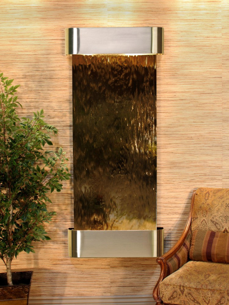 Inspiration Falls: Bronze Mirror and Stainless Steel Trim with Rounded Corners