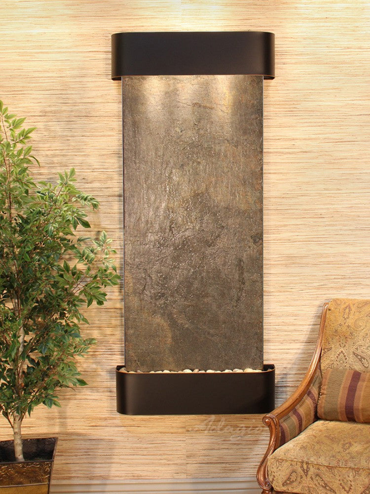 Inspiration Falls - Green FeatherStone - Blackened Copper - Rounded Corners - Soothing Walls