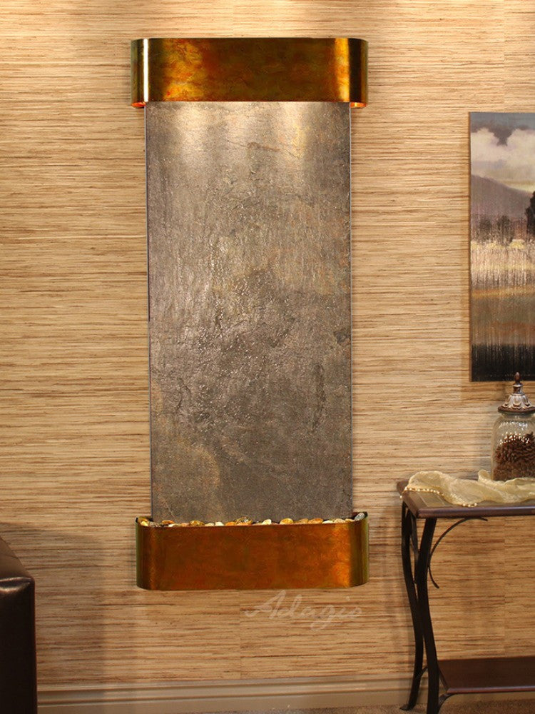 Inspiration Falls - Green FeatherStone - Rustic Copper - Rounded Corners - Soothing Walls