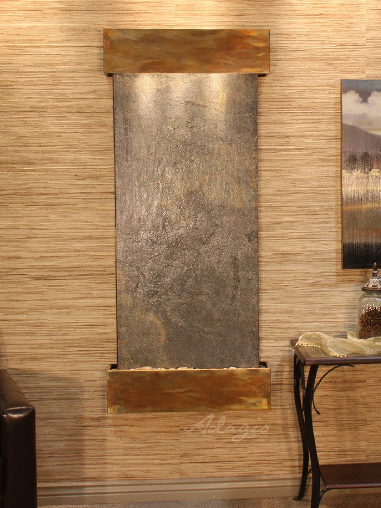 Inspiration Falls - Green FeatherStone - Rustic Copper - Squared Corners - Soothing Walls