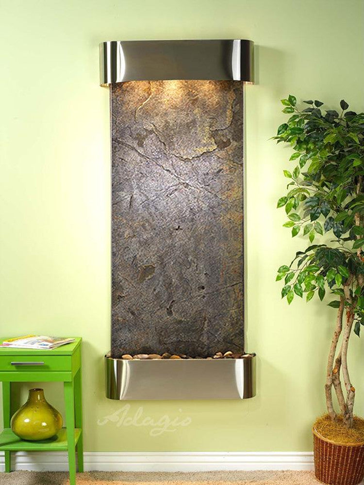 Inspiration Falls: Green FeatherStone and Stainless Steel Trim with Rounded Corners