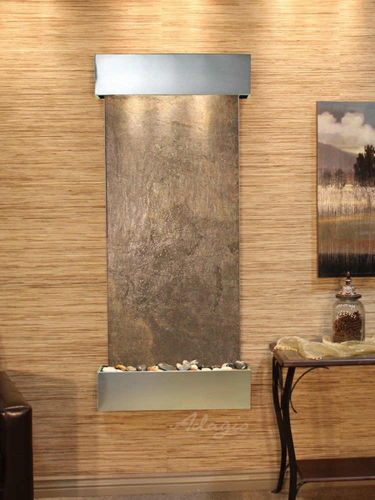 Inspiration Falls - Green FeatherStone - Stainless Steel - Squared  Corners - Soothing Walls