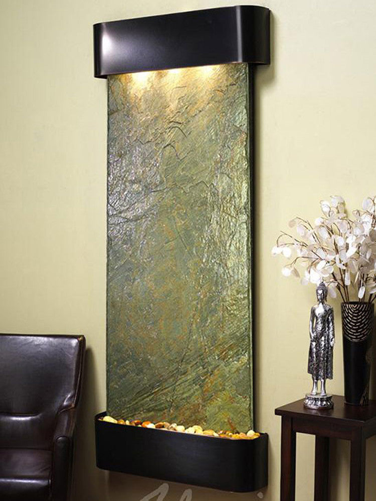 Inspiration Falls: Green Slate and Blackened Copper Trim with Rounded Corners
