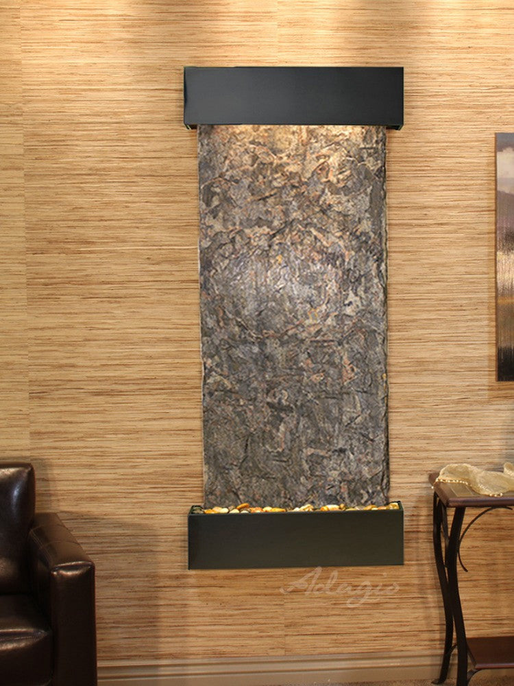 Inspiration Falls - Green Slate - Blackened Copper - Squared Corners - Soothing Walls