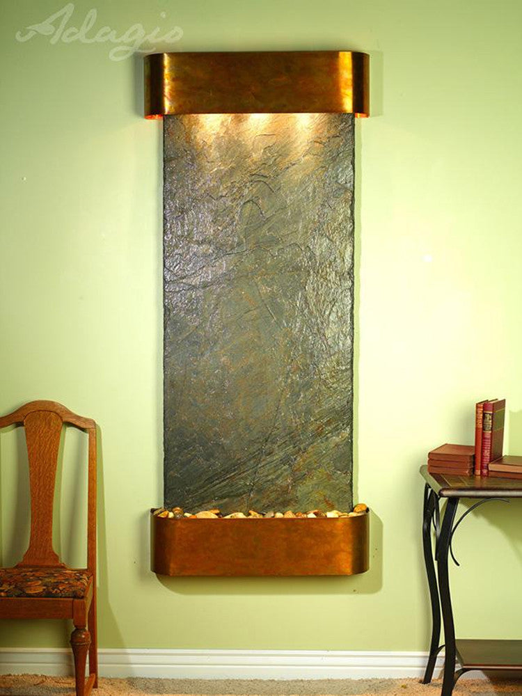 Inspiration Falls - Green Slate - Rustic Copper - Rounded Corners - Soothing Walls