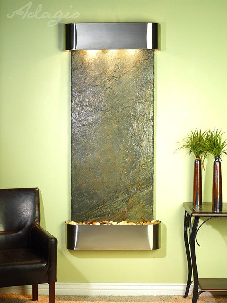 Inspiration Falls: Green Slate and Stainless Steel Trim with Rounded Corners