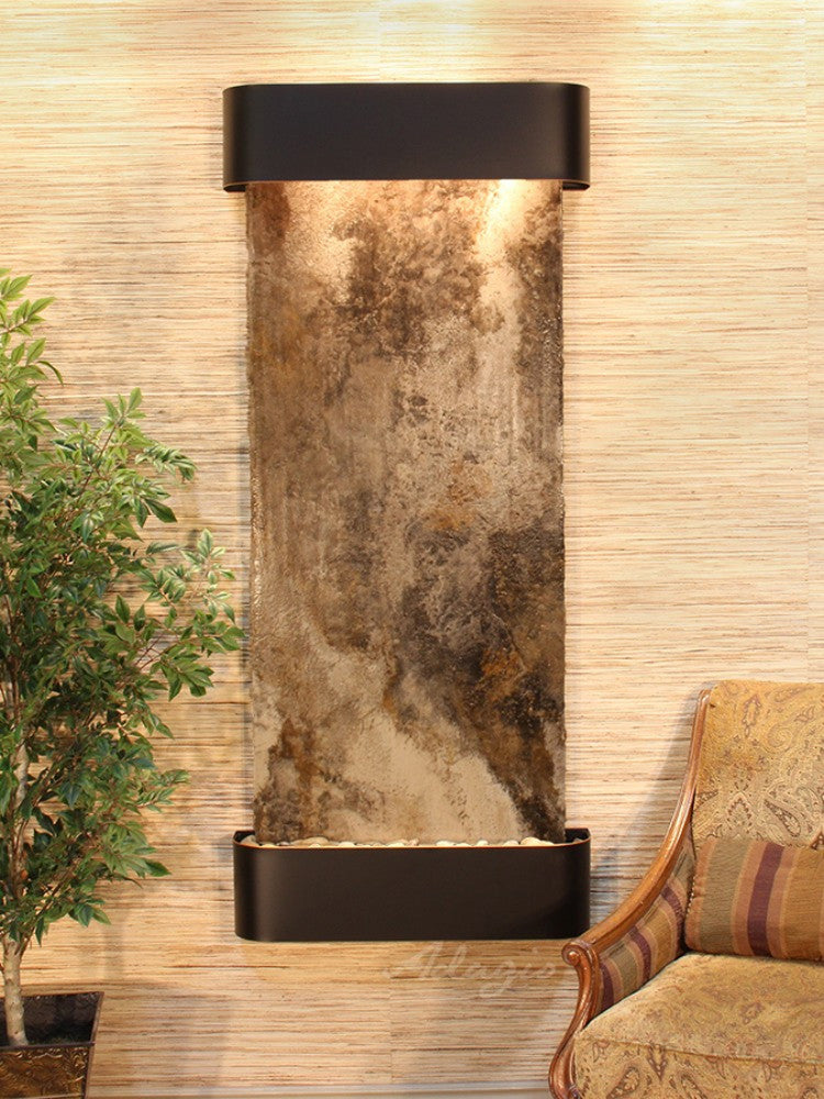 Inspiration Falls :Magnifico Travertine and Blackened Copper Trim Rounded Corners