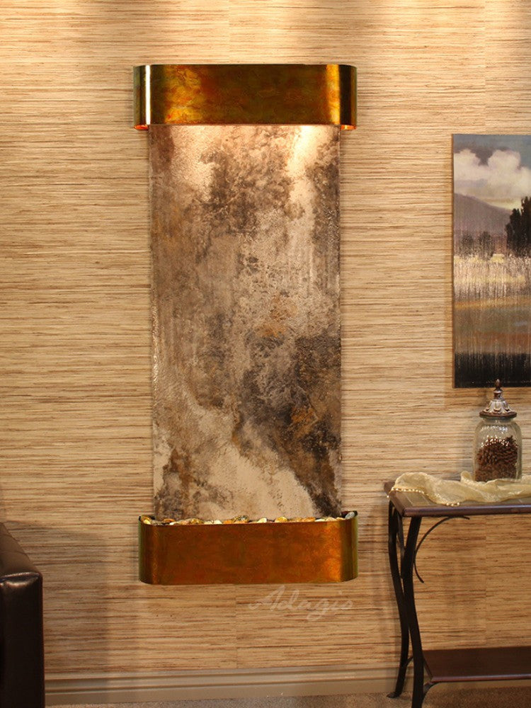 Inspiration Falls: Magnifico Travertine and Rustic Copper Trim with Rounded Corners
