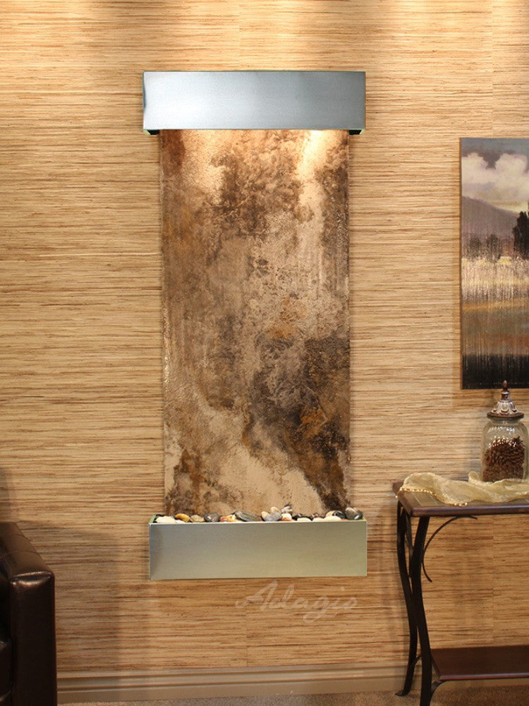 Inspiration Falls - Magnifico Travertine - Stainless Steel - Squared Corners - Soothing Walls
