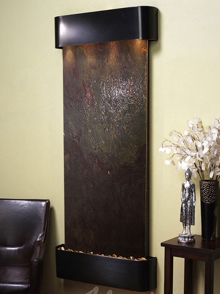 Inspiration Falls - Multi-Color FeatherStone - Blackened Copper - Rounded Corners - Soothing Walls