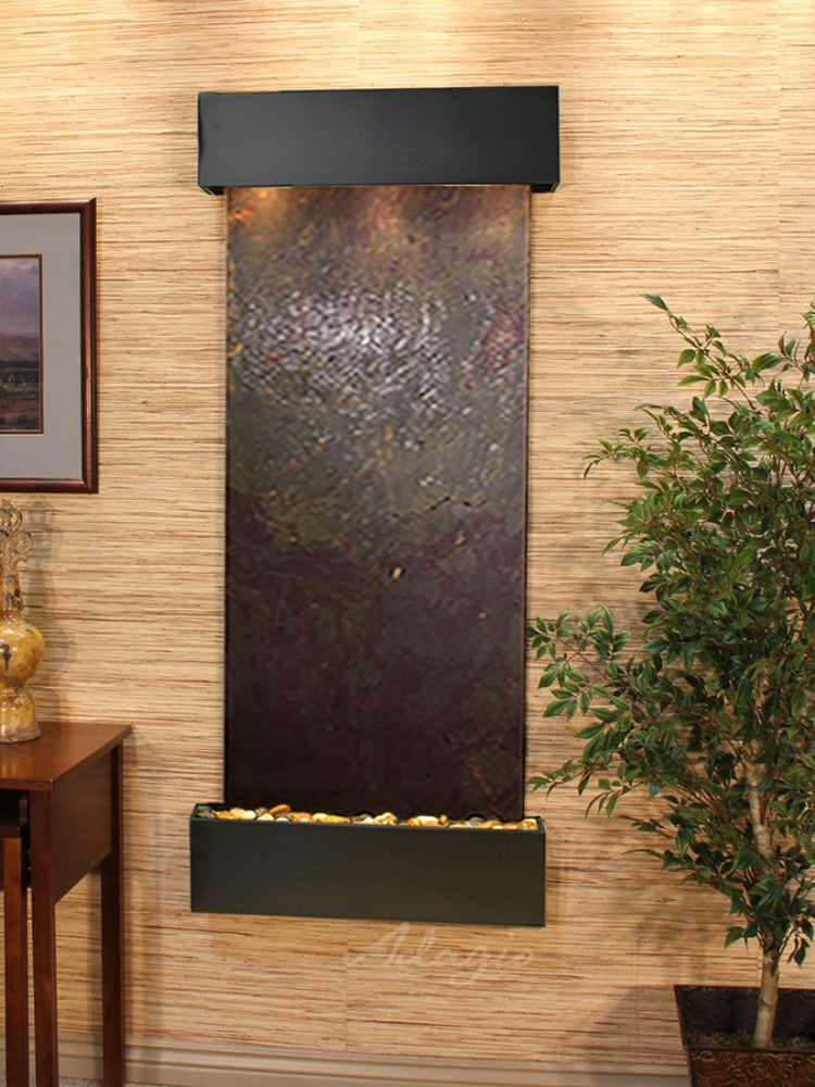 Inspiration Falls - Multi-Color FeatherStone - Blackened Copper - Squared Corners - Soothing Walls
