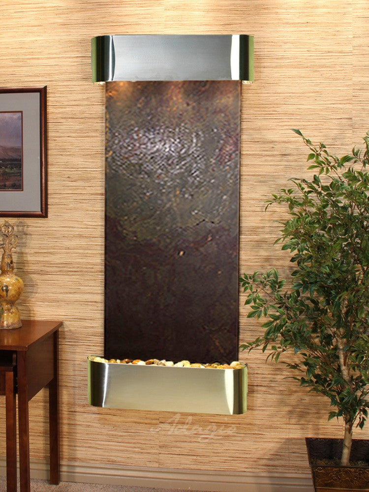 Inspiration Falls - Multi-Color FeatherStone - Stainless Steel - Rounded Corners - Soothing Walls