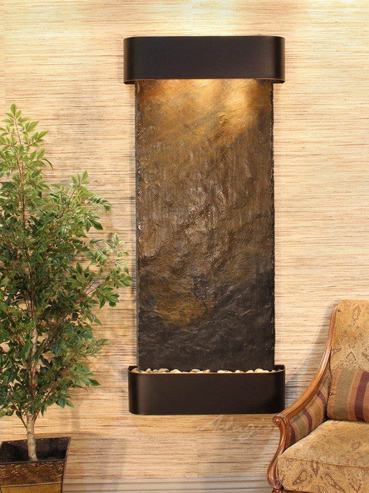 Inspiration Falls: Multi-Color Slate and Blackened Copper Trim with Rounded Corners