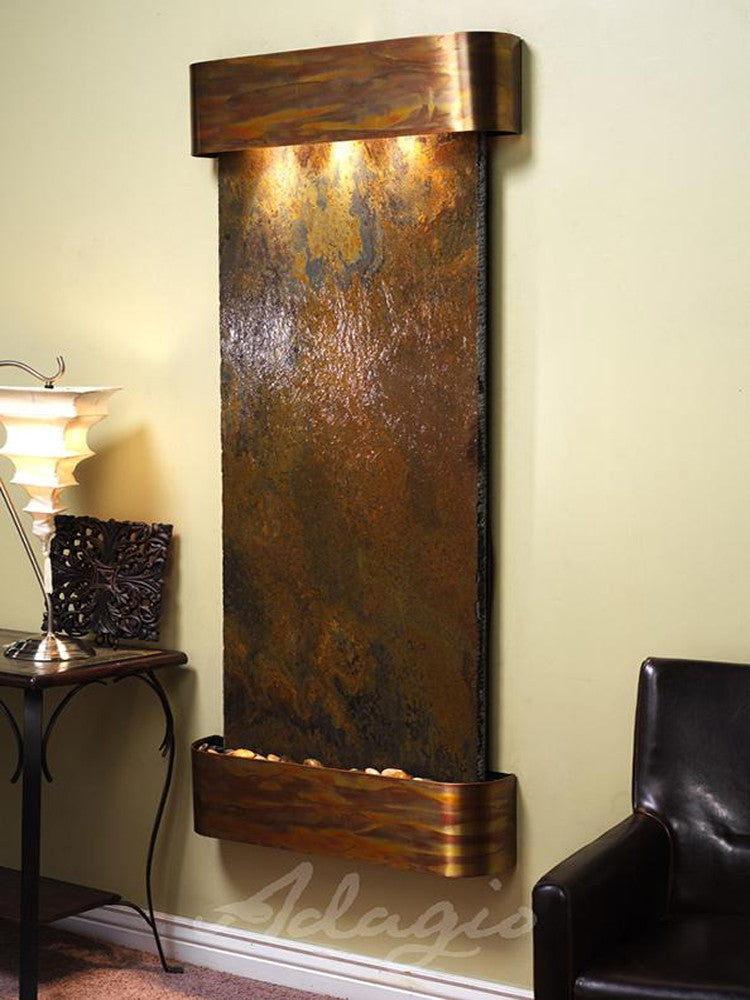 Inspiration Falls - Multi-Color Slate - Rustic Copper - Rounded Corners - Soothing Walls