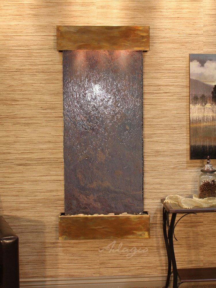 Inspiration Falls: Multi-Color Slate and Rustic Copper Trim with Squared Corners