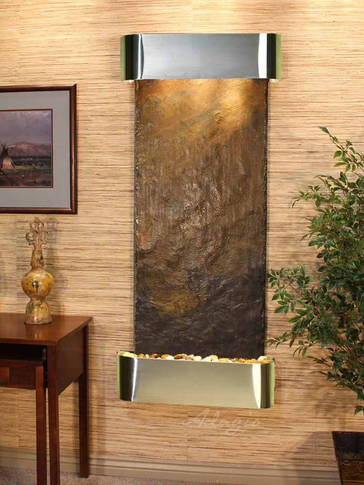 Inspiration Falls - Multi-Color Slate - Stainless Steel - Rounded Corners - Soothing Walls