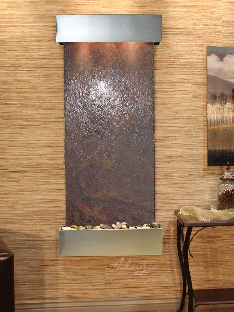 Inspiration Falls - Multi-Color Slate - Stainless Steel - Squared Corners - Soothing Walls
