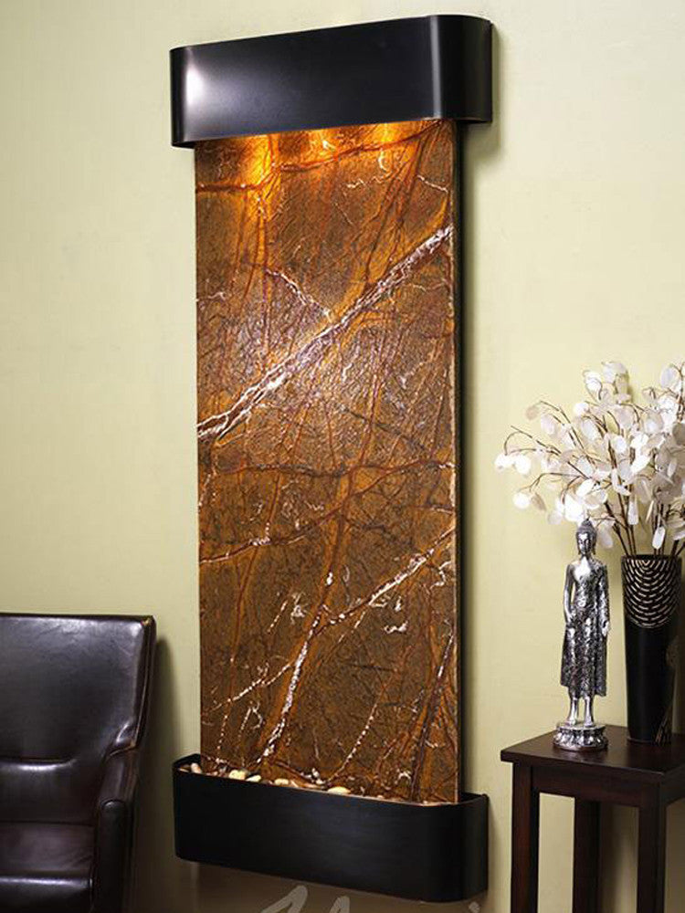 Inspiration Falls - Rainforest Brown Marble - Blackened Copper - Rounded Corners - Soothing Walls