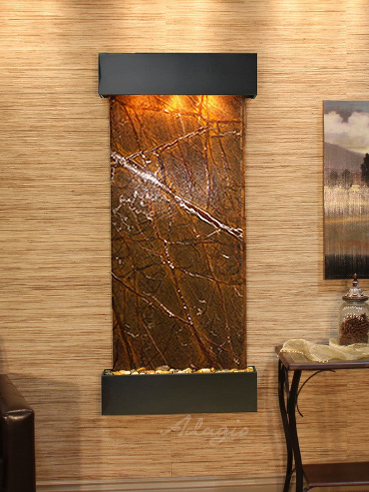 Inspiration Falls: Rainforest Brown Marble and Blackened Copper Trim with Squared Corners