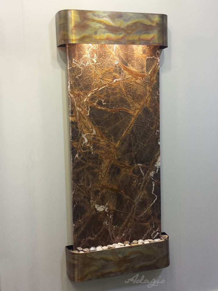Inspiration Falls - Rainforest Brown Marble - Rustic Copper - Rounded Corners - Soothing Walls