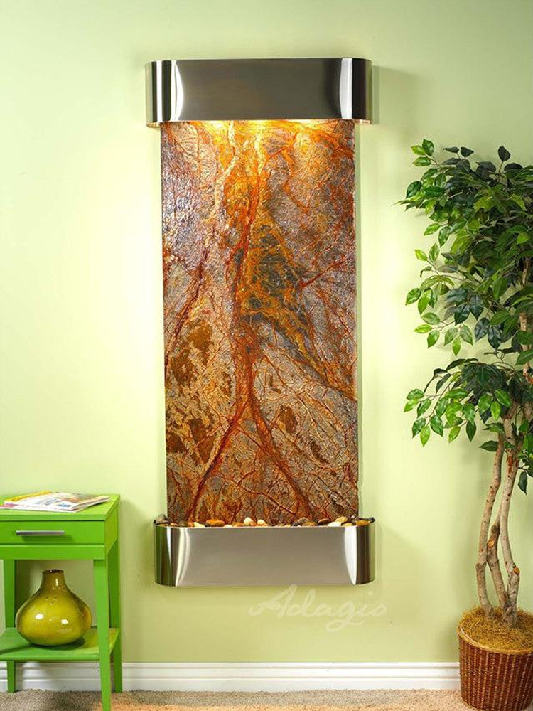 Inspiration Falls: Rainforest Brown Marble and Stainless Steel Trim with Rounded Corners
