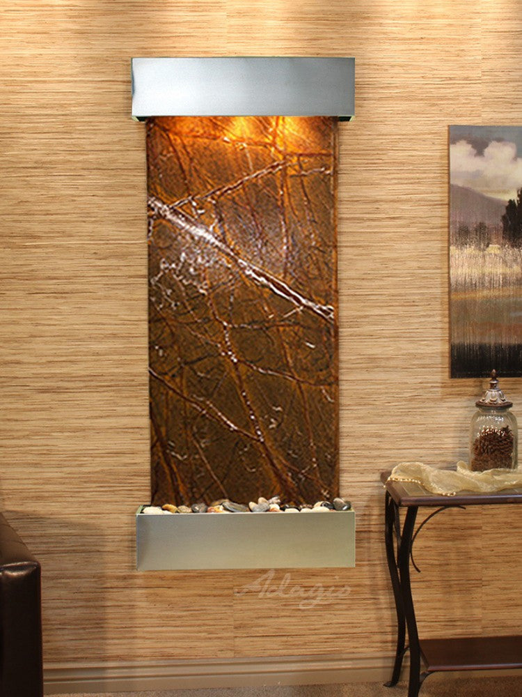 Inspiration Falls: Rainforest Brown Marble and Stainless Steel Trim with Squared Corners