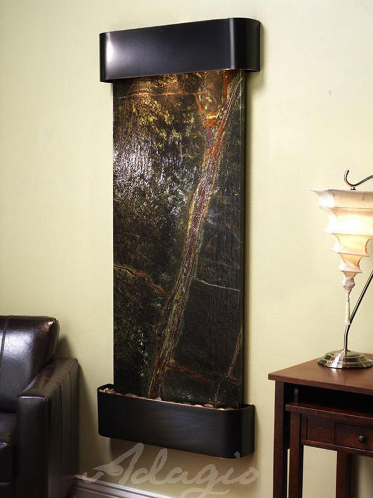 Inspiration Falls - Rainforest Green Marble - Blackened Copper - Rounded Corners - Soothing Walls